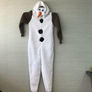 "Disney ""Olaf"" unisex hooded onesie XS fleece"